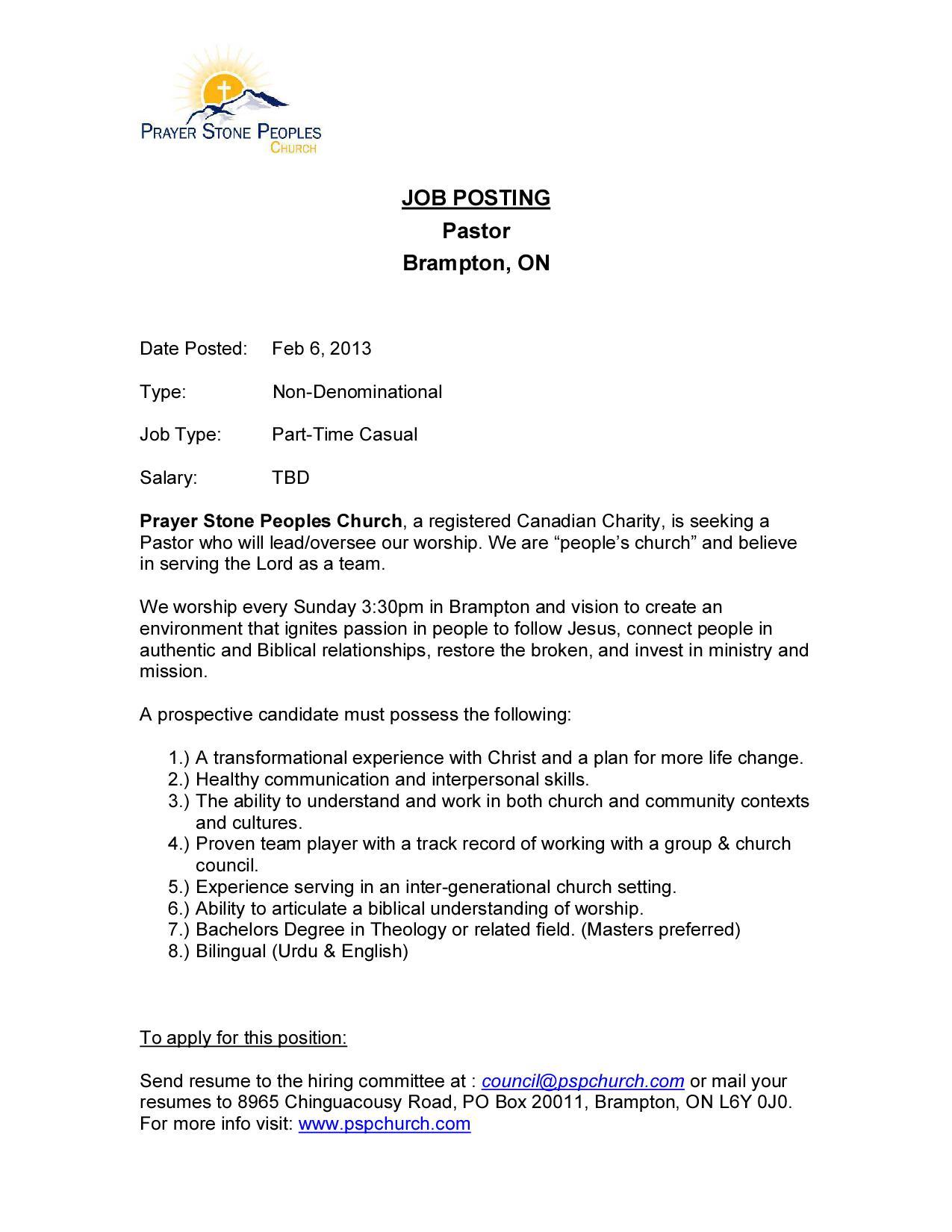 Pastor – Job Description | sachristian