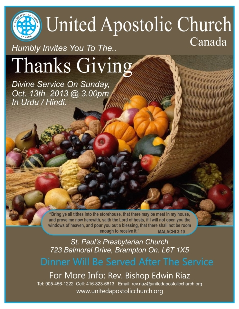 United Apostolic Thanks Giving Flyer