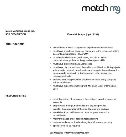 Financial Analyst Job Desciption